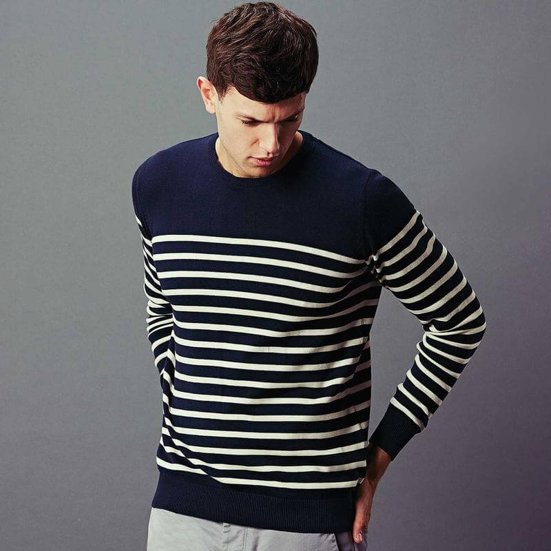 blue striped knitted pullover