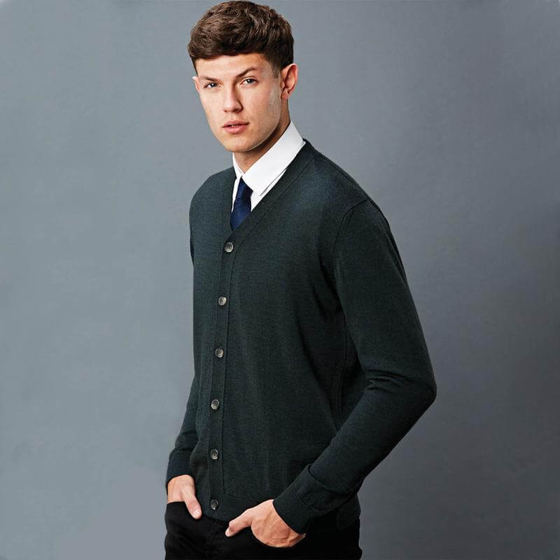 mens navy blue knitted cardigan