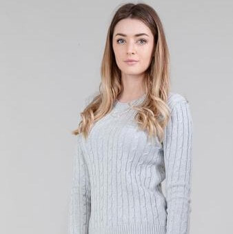 silver grey ldies cable jumper